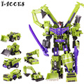 Big Size 42CM  Big Size Toys Legend Class Action Figures 6 in 1 Anime Deformation Robot Car Model Engineering Boy Toys Gift