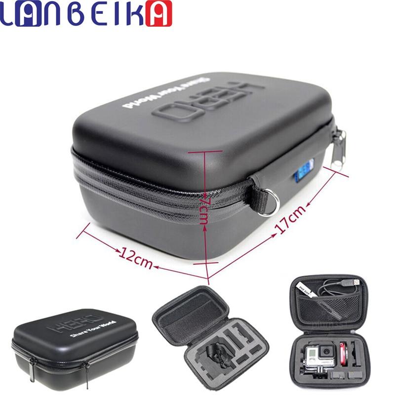 LANBEIKA a prueba de golpes a prueba de agua portátil caso bolsa de caja de EVA de protección para SJCAM SJ7 SJ4000 SJ5000 SJ6 Go Pro Hero 7 6 + 5 4 3