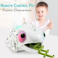 1 PC Creative Remote Control Chameleon Model RC Electric Pet Lizard Animal Robot Lighting Children's Educational Toys For Kids