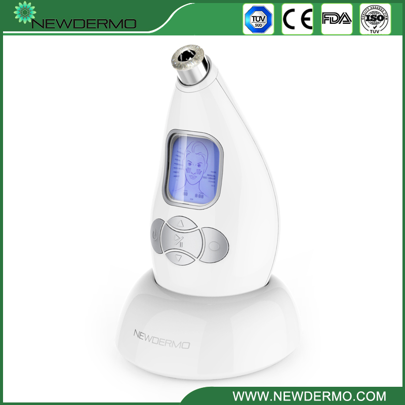 Silver High Quality NEWDERMO Skin Diamond Microdermabrasion Machine Blackhead Removal Tool silver 2 heads 2015 new best personal dead blackhead removal diamond microdermobrasion machine