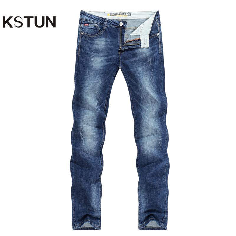 KSTUN Men Jeans Business Casual Thin Summer Straight Slim Fit Blue Jeans Stretch Denim Pants Trousers Classic Cowboys Young Man ...