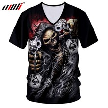 UJWI T-shirt Homme Hot V-neck Slim Fit 3D T Shirts Printing Pirate Skull Streetwear 7XL Clothing Men Spring T Shirts(China)