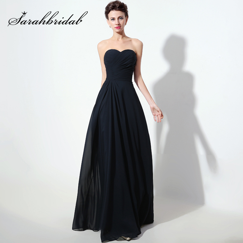 New Arrival Sweetheart Navy Blue Long   Bridesmaid     Dresses   2017 Chiffon Pleat Cheap Women Wedding Party Gowns Simple   Dress   SD334