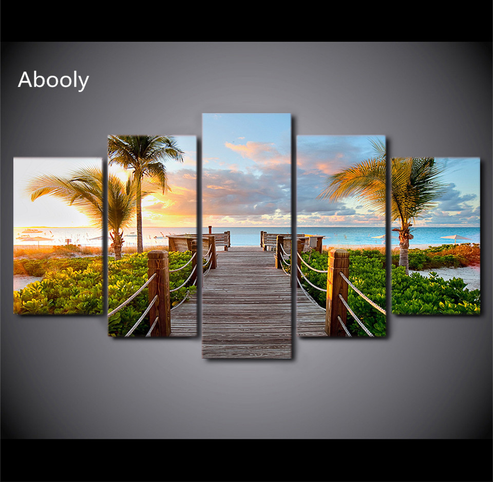 HD Printed 5 Piece Canvas Art Painting Coast Board Walk Palms Pictures Hd Posters And Prints Island For Living Room Home Decor
