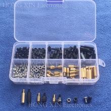 цена на NEW M3 Brass/Nylon Spacer Standoff / Screw / Nut Male Female PCB Board Screw Assortment Platter Kit Set #M3 Black