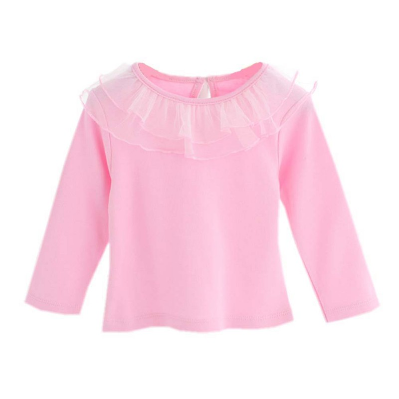 0-24M Baby Girl Cute Turn-down Collar Long Sleeve Lace Blouse Button Down Shirt Children's Clothing For Girls bebe