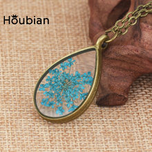 Houbian Big Water Drip Necklace Natural Dried Flower Jewelry Give Girlfriend The Best Birthday Gift