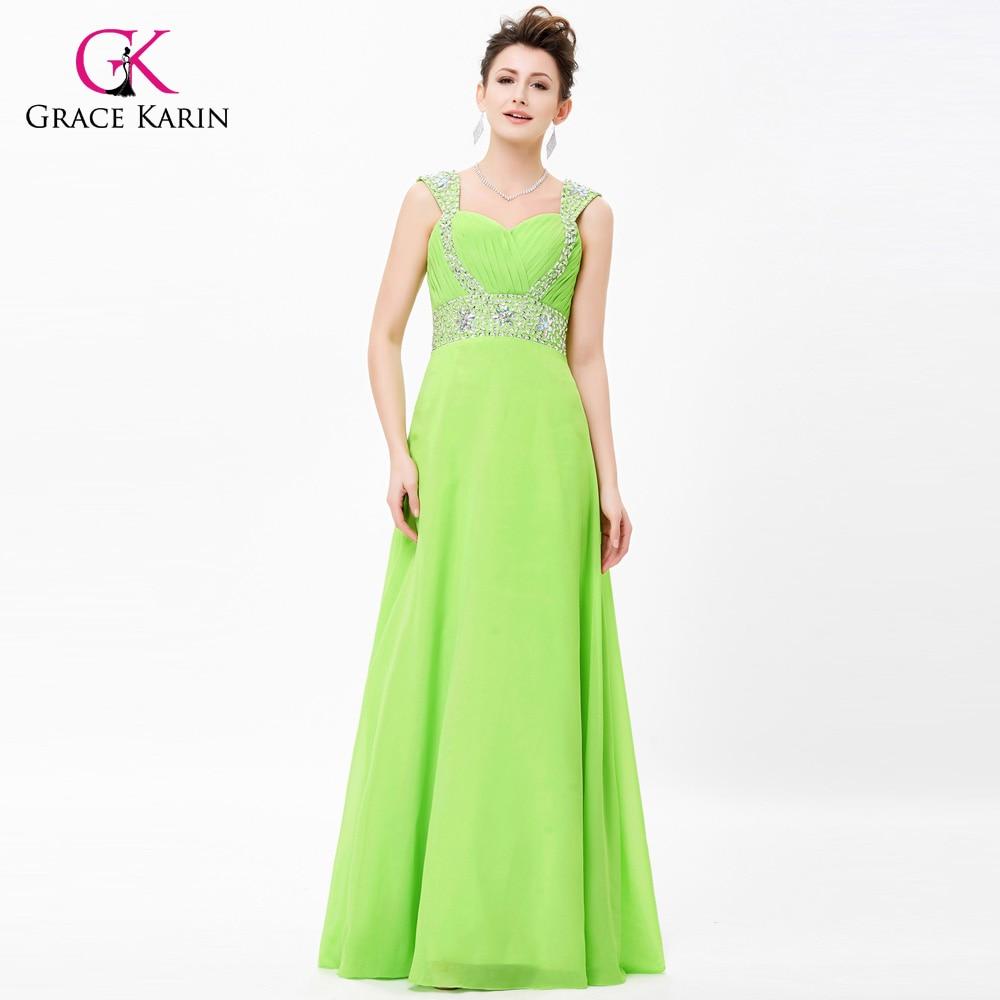 Aliexpress com   Buy Grace Karin Long Evening Dresses 2018 Summer Style V  Neck Chiffon Spaghetti 06214f72deb7