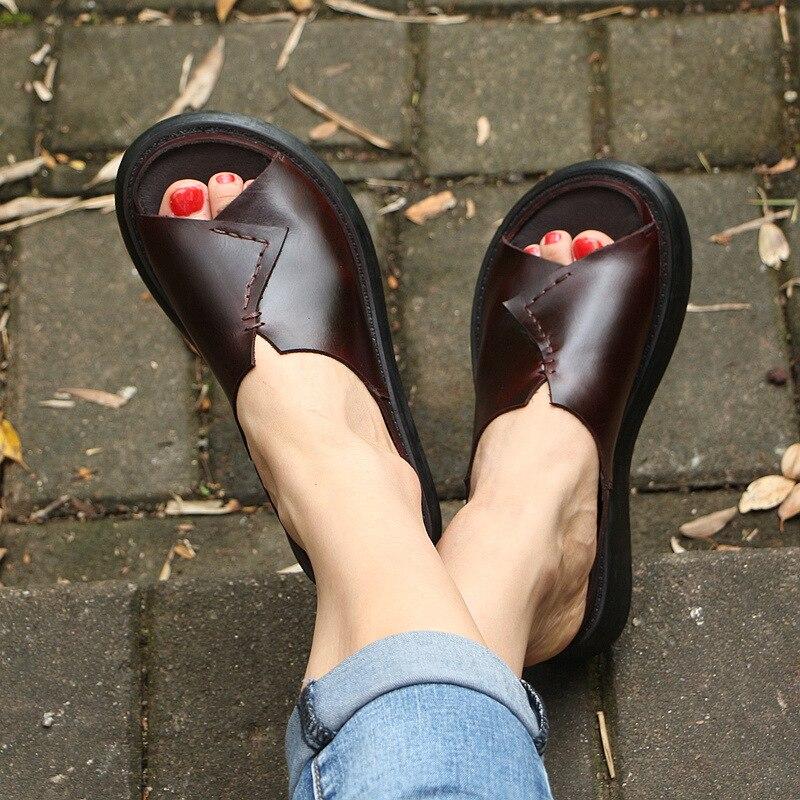 510 5 новая Оригинальная прошитая вручную кожаная обувь женские шлепанцы на толстой подошве женские шлепанцы для отдыха с рифленой подошвой ... - 5