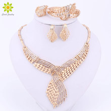 Vintage Hollow Clear Rhinestone Necklace Earrings Gold Color African Bridal Wedding Costume Jewelry Sets