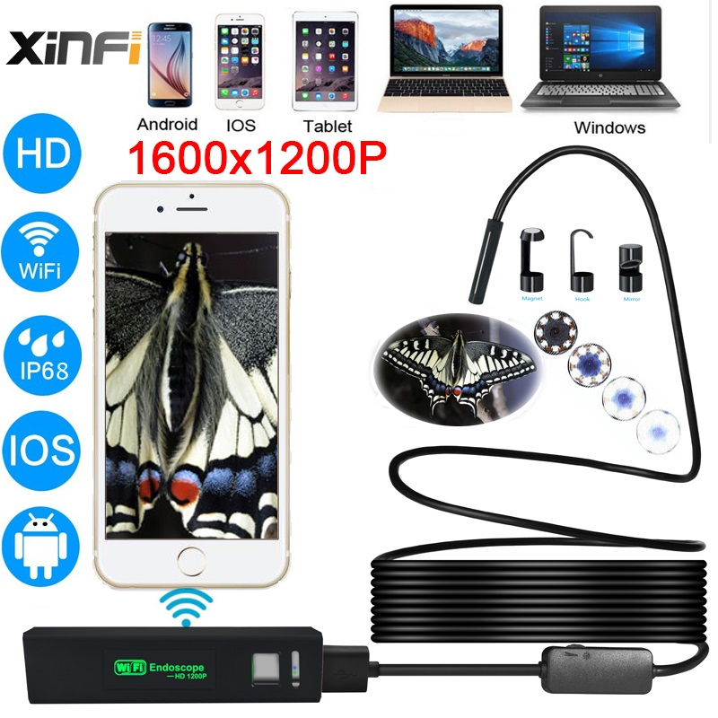 XIFICAM Wifi Endoscope 8mm 1200P HD for Android iOS iphone Soft Cable Wire pipe camera Snake Camera car inspection endoscopic