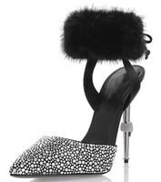 2019 New Design Drill Rhinestone Sandals Women Rabbit hair Ankle Wrap Pointed Toe Unique Metal Thin High Heel Sandalias Mujer