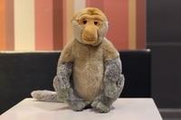 32CM Lifelike Sitting Proboscis Monkey Stuffed Animal Toys Malaysia Travel Cute Lazy Monkey Plush Toy Doll Gift