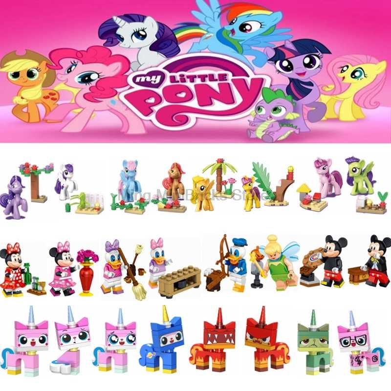 Cartoon Minnie Donald Duck Daisy Tinker Bell unikitty Pony Building Blocks Toys for Children Compatible for Legoing Figures