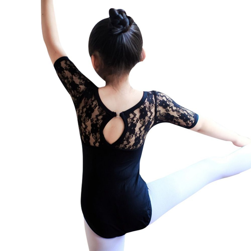 Hot Child Kids Girl Ballet Dance Dress Lace Half Sleeve Gymnastics Leotard Clothes
