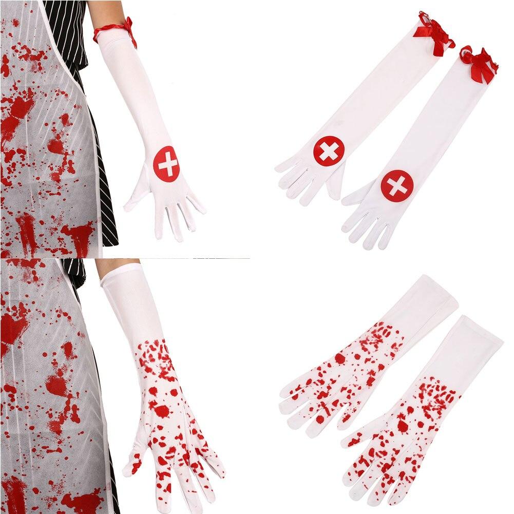 Halloween Nurse Bloody Cross Gloves Long White+Red Ballroom Fancy Dress Decors