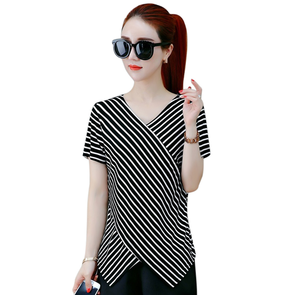 Women Short Sleeve T-shirt V-neck Striped Slim Fit Summer Tops Irregular Hem -MX8