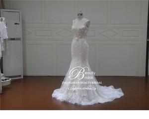 Image 5 - Elegant Detachable Train Wedding Dresses Custom made Lace Pearls Sleeveless Mermaid Wedding Dress  Vestido de Noiva  XF17011