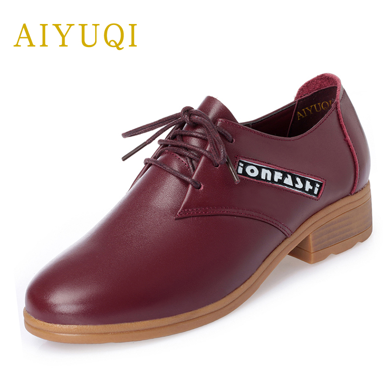 AIYUQI 2018 new spring women's genuine leather shoes comfortable wild British style red low heeled student shoes slip-on women aiyuqi 2018 new spring genuine leather female comfortable shoes bow commuter casual low heeled mother shoes woeme