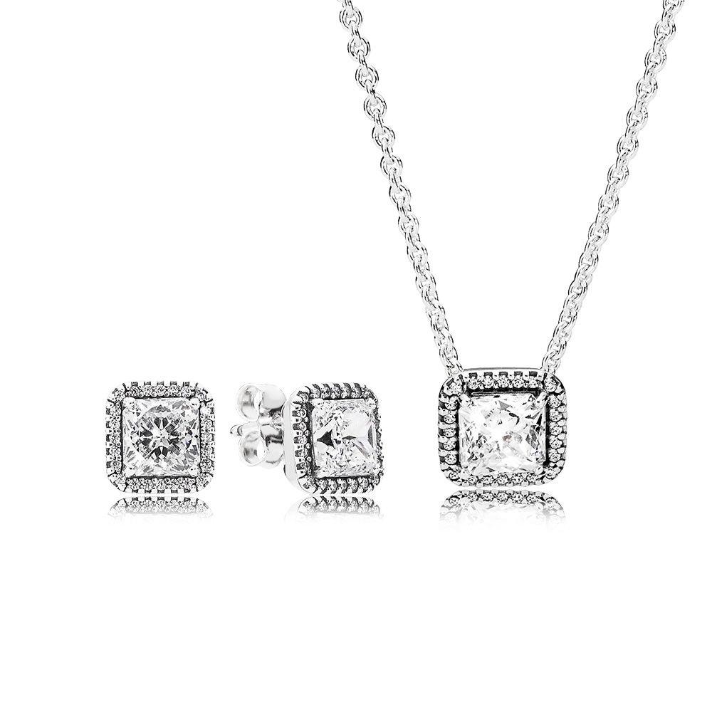купить 100% 925 Sterling Silver Timeless Elegance Earring And Necklace Gift Set Original Clear CZ Fit Diy Jewelry