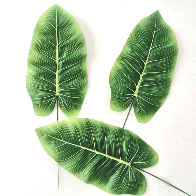 Artificial silk leaves large faux tropical leaf of banana for Artificial banana leaves decoration
