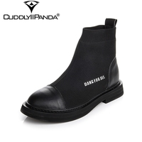 CuddlyIIPanda 2018 Autumn Winter Knitting Socks Boots Genuine Leather Women Chelsea Boots Mixed Color Stretchable Martin Boots