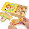 Мультфильм Монтессори деревянные головоломки игрушки красочные животных лев медведь панда обезьяна кролик обезьяна собака найти пищу карты коробка матч набор