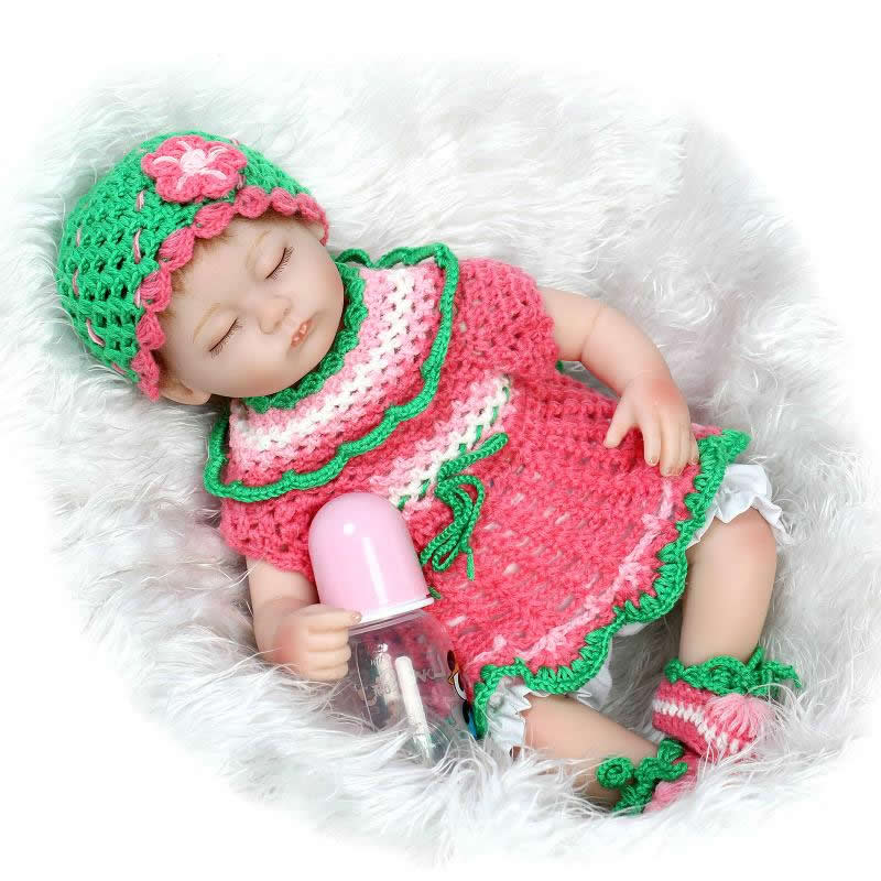 Sleeping Lovely Silicone Reborn Doll Baby 17 Inch Lifelike Newborn Girl Babies With Knitted Dress Kids Birthday Christmas Gift can sit and lie 22 inch reborn baby doll realistic lifelike silicone newborn babies with pink dress kids birthday christmas gift
