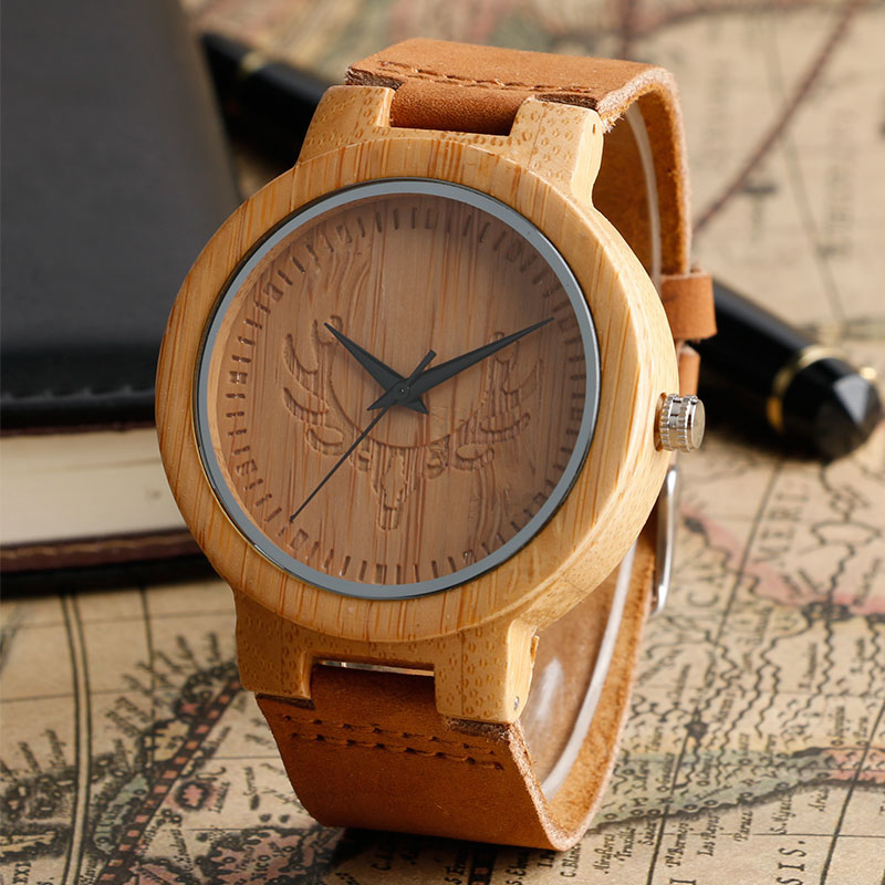 Fashion Deer Head Dial Design Hand-made Light Wood Watch with Brown Genuine Leather Strap Bamboo Wristwatches for Men Women simple fashion hand made wooden design wristwatch 2 colors rectangle dial genuine leather band casual men women watch best gift