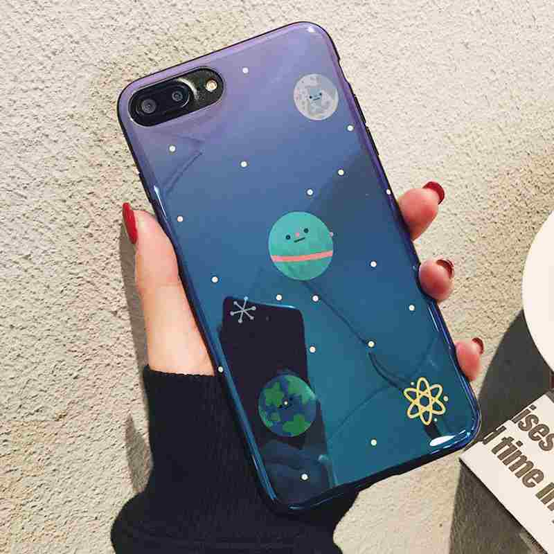 Sparkle Glitter Space Moons Planet Stars Case for iPhone X 10 8 7 6s Plus iPhone7 fundas Soft Silicone Mirror Phone Case Blu-Ray