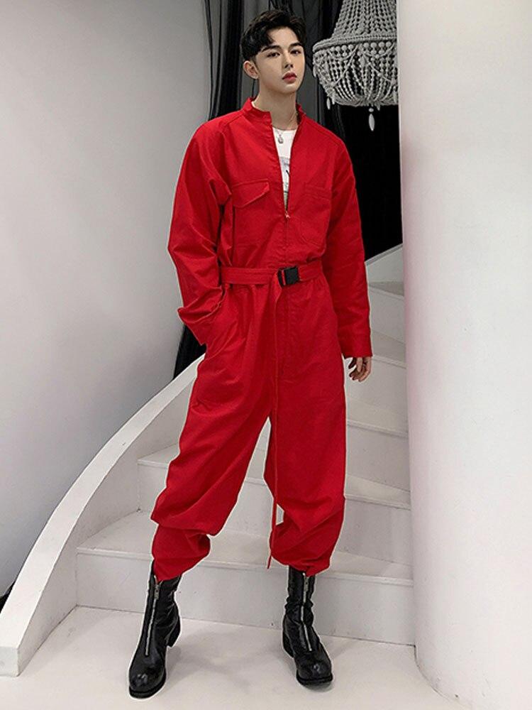 Hommes rue haute Hip Hop décontracté combinaison Cargo pantalon homme Streetwear salopette scène danse vêtements combinaison Harem pantalon-in Salopette from Vêtements homme    1