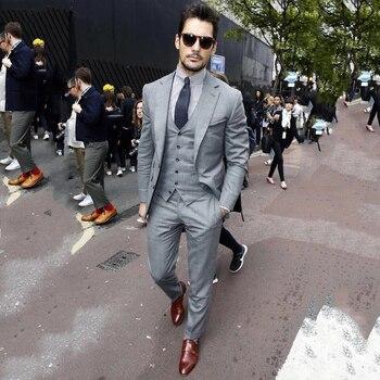 1bd54fc19 Para hombres de corte Slim 2018 Grey trajes de negocios smoking chaqueta de Formal  3 piezas trajes Traje Hombre Resit trajes de boda para los hombres