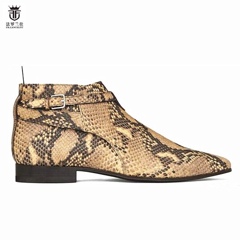 2019 FR. LANCELOT nova chegada snakeskin imprimir botas genuína botas de couro chelsea impressão tornozelo botas botas de moda masculina outono