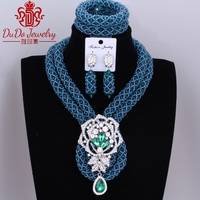 2017 Fashion Teal Green Christmas Costume Nigerian Wedding African Beads Jewelry Sets Big Design Choker Necklace Set of Beads