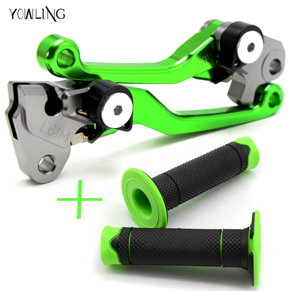 For KAWASAKI KX250F KX450F KX 250 450 F KXF 250 450 2013 2014 2015 2016 2017 2018 Pivot Foldable Brake Clutch Levers hand grip motorcycle brake lever and hand grip dirt bike pivot brake clutch levers for kawasaki kx65 kx80 kx85 kx100 kx 80 85 2001 2016