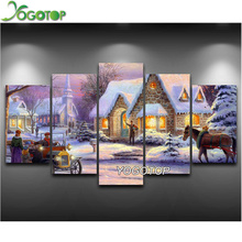 YOGOTOP DIY Diamond Painting Cross Stitch 5D Diamond Embroidery Full Diamond Mosaic Crafts Needlework Snow house 5pcs/set ML043 yogotop diy diamond painting cross stitch kits full diamond embroidery dolphins 5d diamond mosaic needlework 5pcs ml104