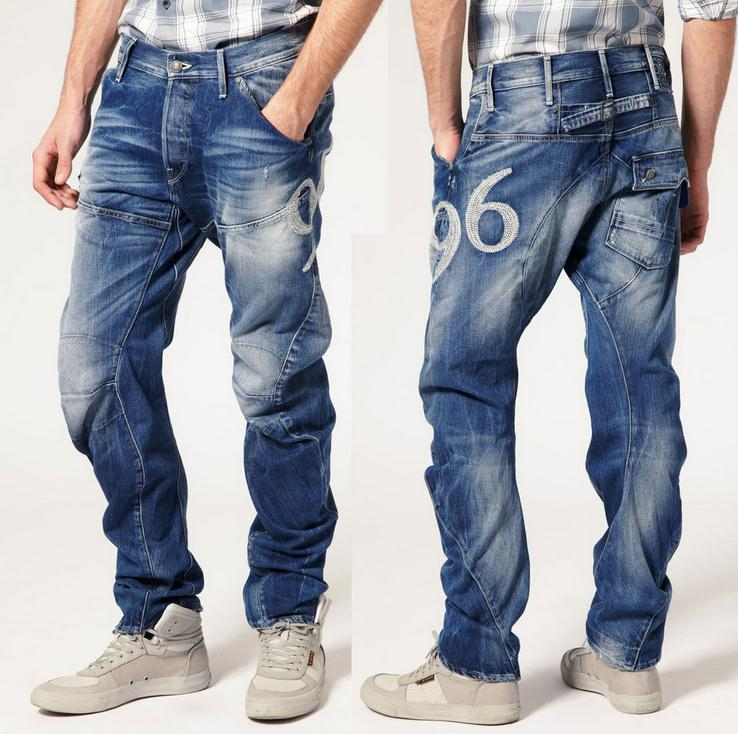 ФОТО Fashion men's denim jeans embroidery brand new style man's straight pants designer trousers 28--38 Free Shipping