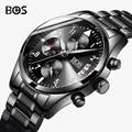 BOS Homens Auto Data Homens Relógio Resistente À Água de Aço Inoxidável Relógio de Vestido Moda Vencedor de Couro Projeto de Negócio De Quartzo-Relógio 2016