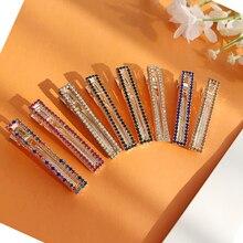 Fashion Vintage Hairpins Metal Square Geometry Hair Clip Diamond Rhinestone Barrettes Grips Accessories