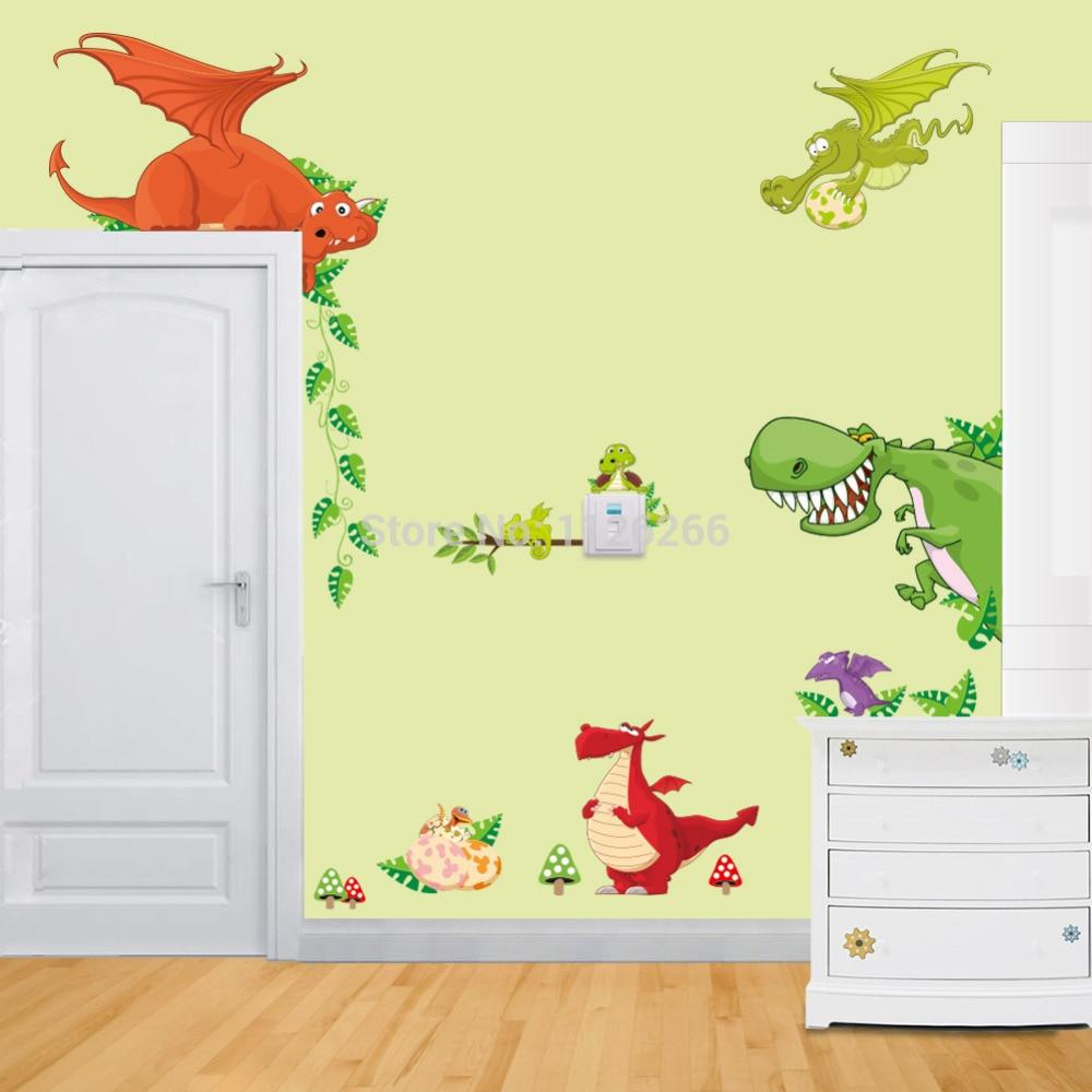 Children\'s Cartoon Dinosaur Wall Stickers Wall Art Decal Sticker for ...