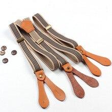 Модные полосатые подтяжки унисекс с 3 Регулируемыми пряжками и шестью кнопками; дизайнерские подтяжки для мужчин и женщин; эластичные брюки; одежда с ремешками