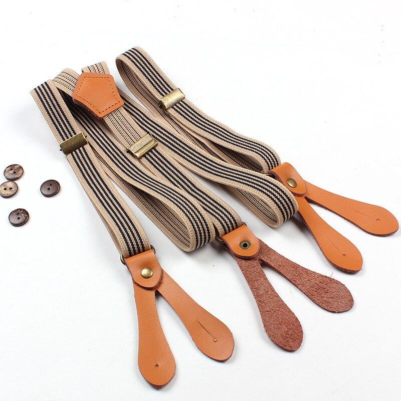 Fashion Unisex Stripe Suspenders 3 Adjustable Buckles Six Buttons Design Braces Men and Women Elastic Trousers Clothing Straps