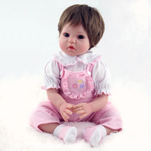 Lifelike Silicone Reborn Baby Dolls 22″ Vinyl Girl for Playhouse Game Kids Gifts Toy Hobbies
