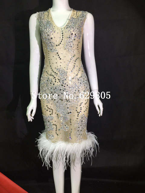 Sparkly Perspective Feather Dress Sexy Flashing Birthday Party One-piece  Dress Costume Body Suits Celebrate ba99556e519f