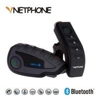 Vnetphone v8 bluetooth intercomunicador capacete de moto capacete nfc motocicleta guiador controle remoto fone de ouvido 5 pilotos
