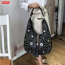 New Diamonds Women Handbags Fashion Large Capacity Shoulder Bag Rhinestone Tote Bags Leisure Female Belt Drilling Package Ladies