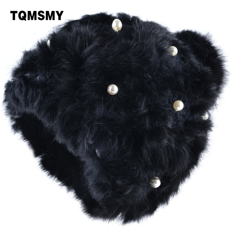 TQMSMY Brand Women's Knitted Hat Casual Rabbit fur Pearls Knitting wool hat For Women winter   Skullies     Beanie   Hats Bonnet TMC57