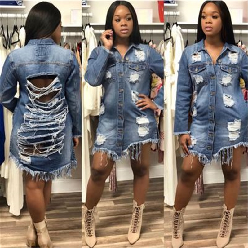 chaquetas primavera mujer 2018 Womens Long Sleeve Bomber Jacker Vintage Ripped Hole Long Denim Jeans Jacket and Coat D427