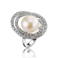 L & Цзуань S925 серебристый белый культивированный Диаметр 9 ~ 10 мм Жемчуг Мода кольца ювелирные изделия Рождественский подарок
