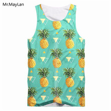 2a3c50f7c91 3D Print Fruit Pineapples Tank Tops Men Hipster Casual Hiphop Vest Summer  Sleeveless Shirts Boy Cool